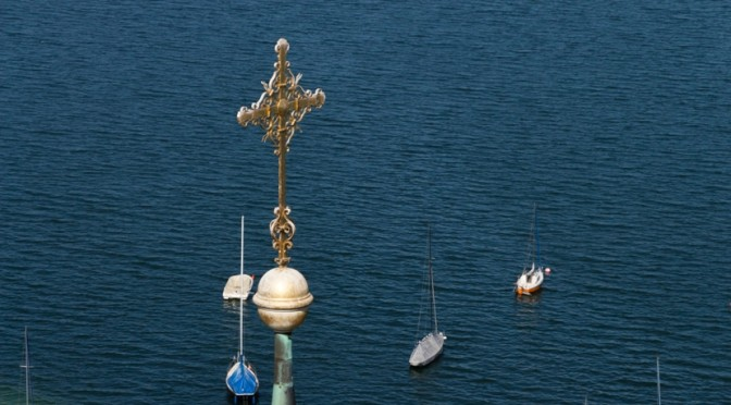 Aerial picture of church top at Seeshaupt at Lake Starnberg