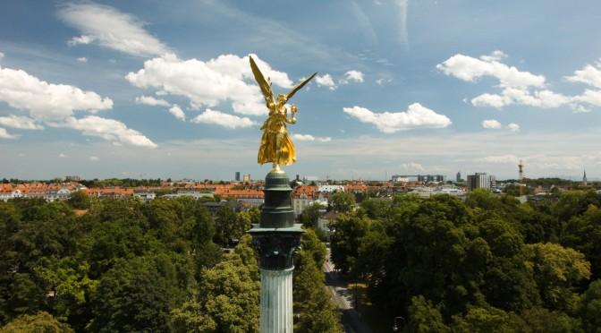 Friedensengel München, Oktokopter, Aerovista, Luftaufnahme