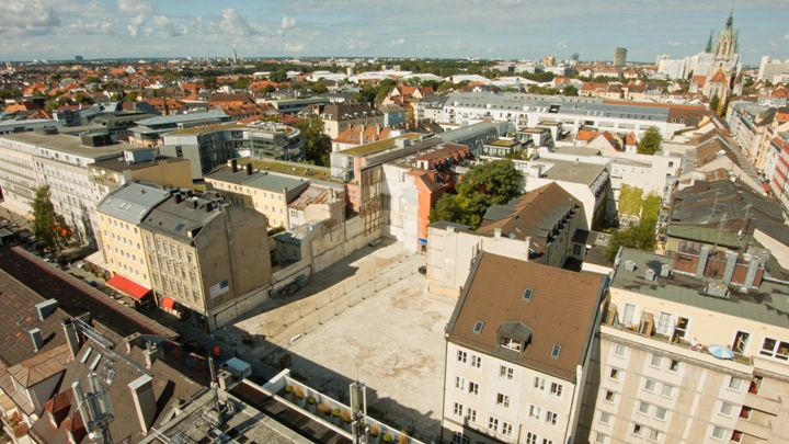 Gebäudevisualisierung basierend auf Drohnen Luftaufnahmen in München, Bayern