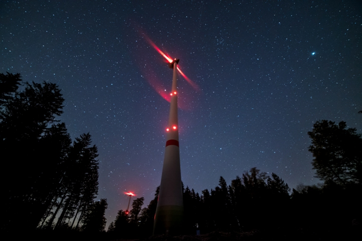 Sternenhimmel, Windkraftanlage Foto, Timelapse