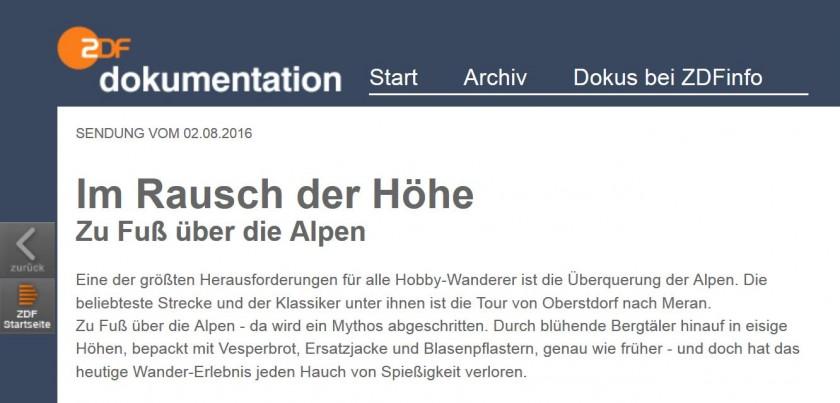 ZDF Dokumentation zu Fuß über die Alpen